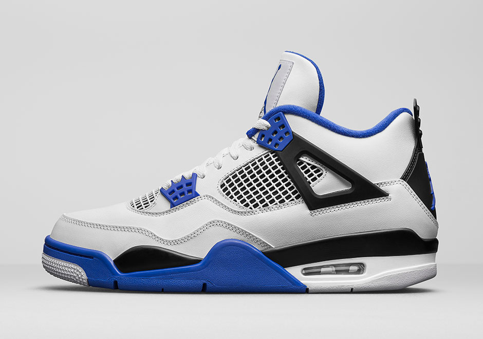 "Air Jordan 4 ""Motorsports"" Release Date: March 25th, 2017. Price: $190.  Color: White/Game Royal-Black"