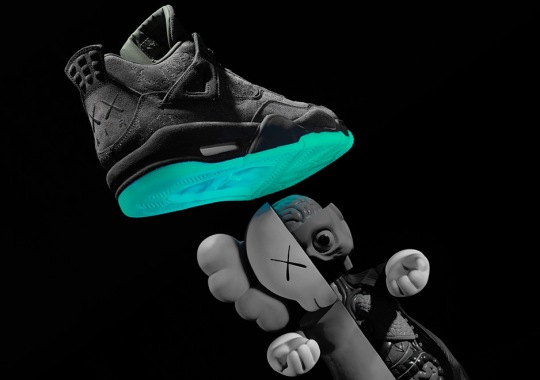 Best Look Yet At The Jordan 4 KAWS Glow In The Dark Soles