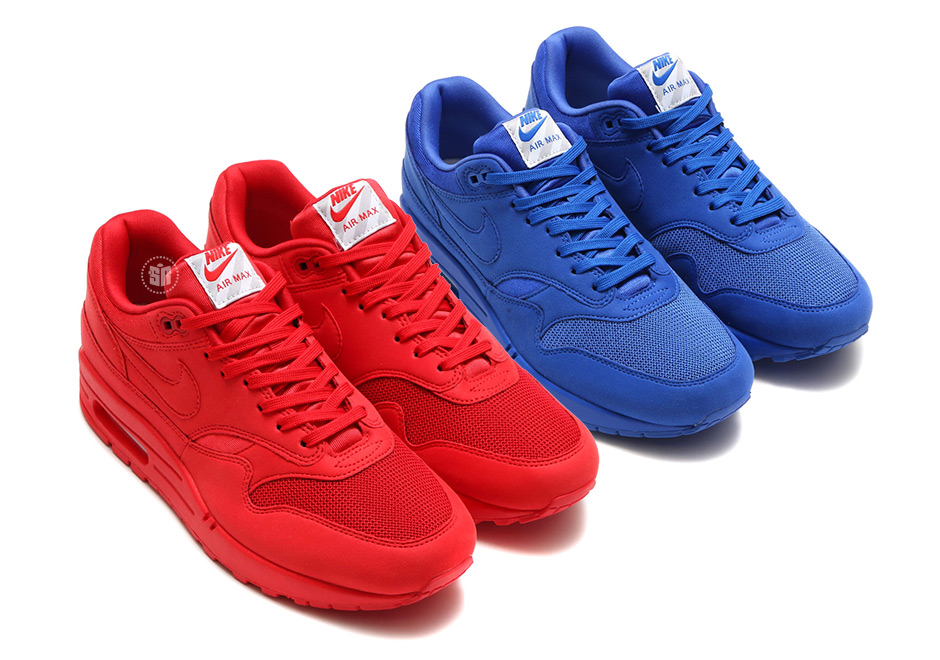 sports shoes 45701 e416f A Closer Look At The Nike Air Max 1 Premium In Red And Blue