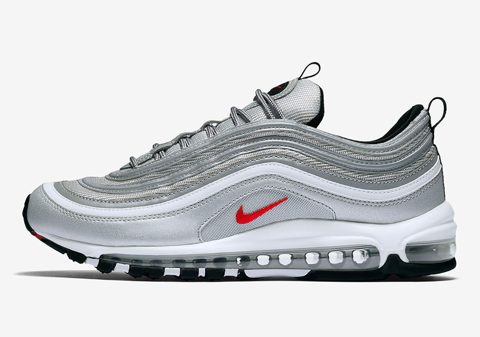 "The release for the anticipated ""Silver Bullet"" Nike Air Max 97 gets an  update as retailers in Europe are reporting a drop on April 5th."