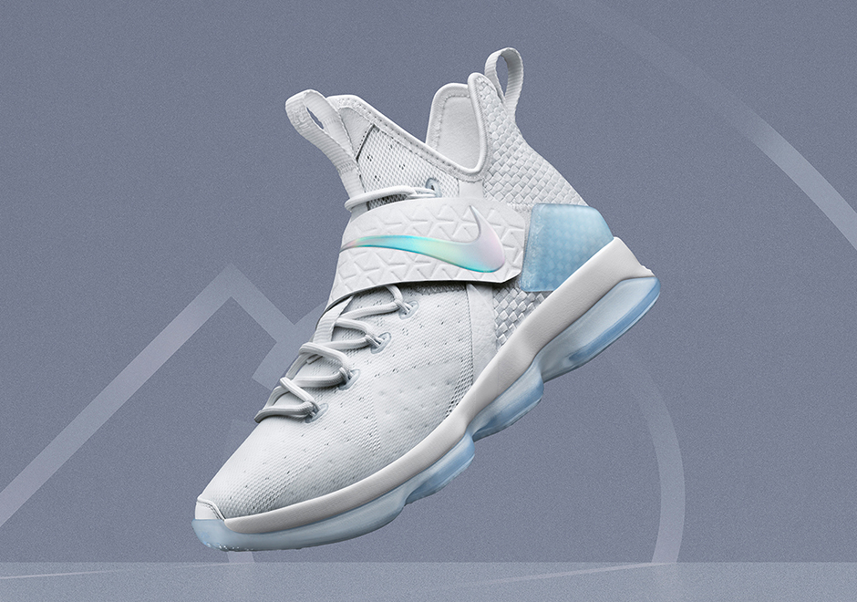 "more photos 16332 abbd3 Nike LeBron 14 ""Time To Shine"" Release Date: March 24th, 2017 $175. Color:  White/Metallic Silver-Ice Blue Style Code: 860631-900"