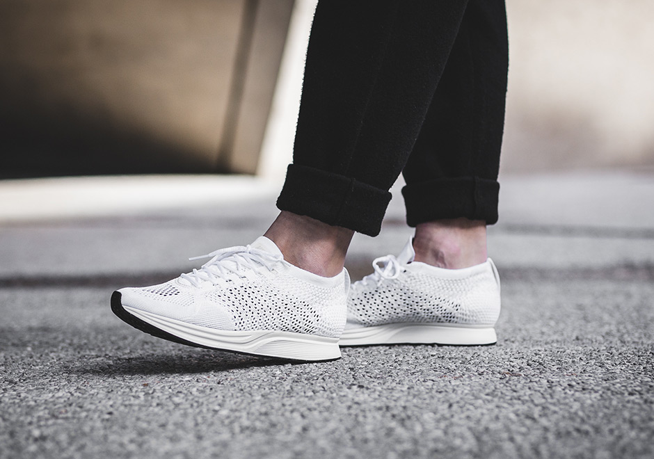 ea0f0bdf589d2 Nike Flyknit Racer Triple White On-Foot Look