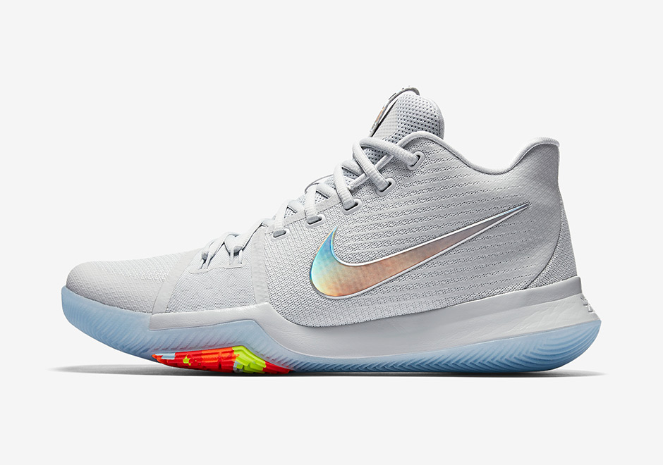 7a60b295964e Nike Kyrie 3 Iridescent Swoosh Release Date 852416-001