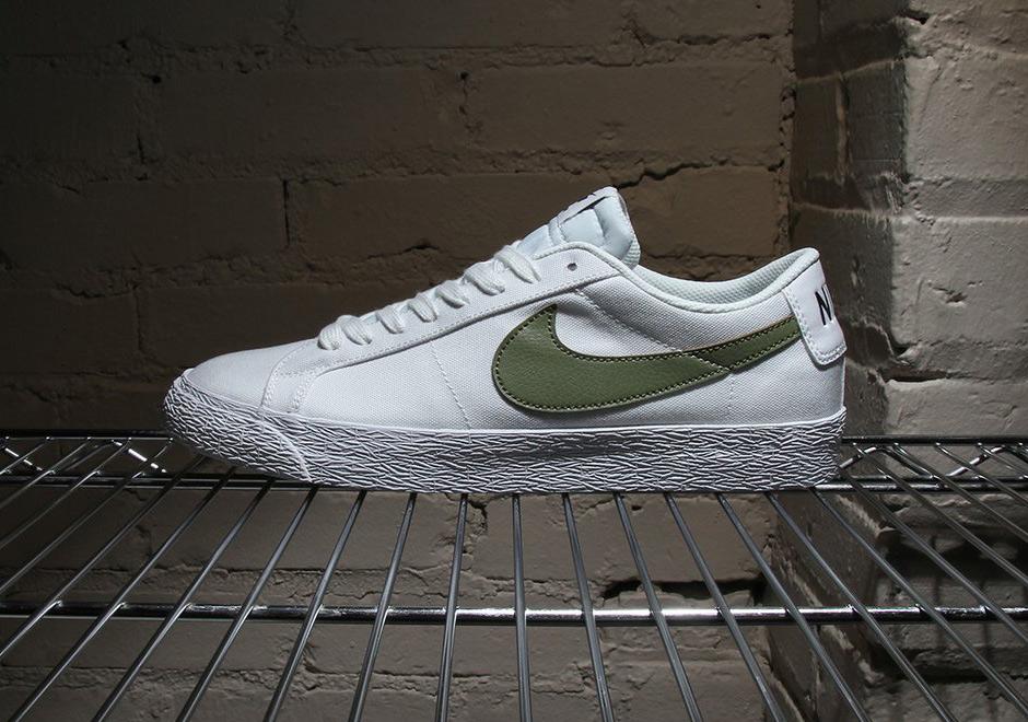 Nike SB Blazer Low Canvas White Palm Green 889053-130   SneakerNews.com