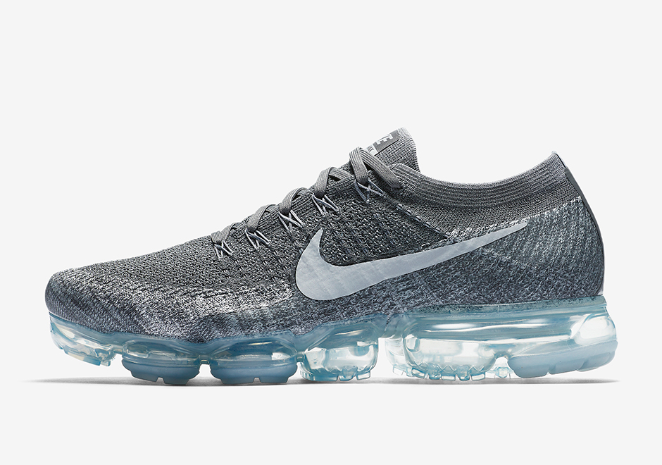"Nike VaporMax ""Asphalt"" Release Date: April 27th, 2017 $190. Color: Dark  Grey/Pure Platinum-White Style Code: 849558-002 (men), 849557-002 (women)"