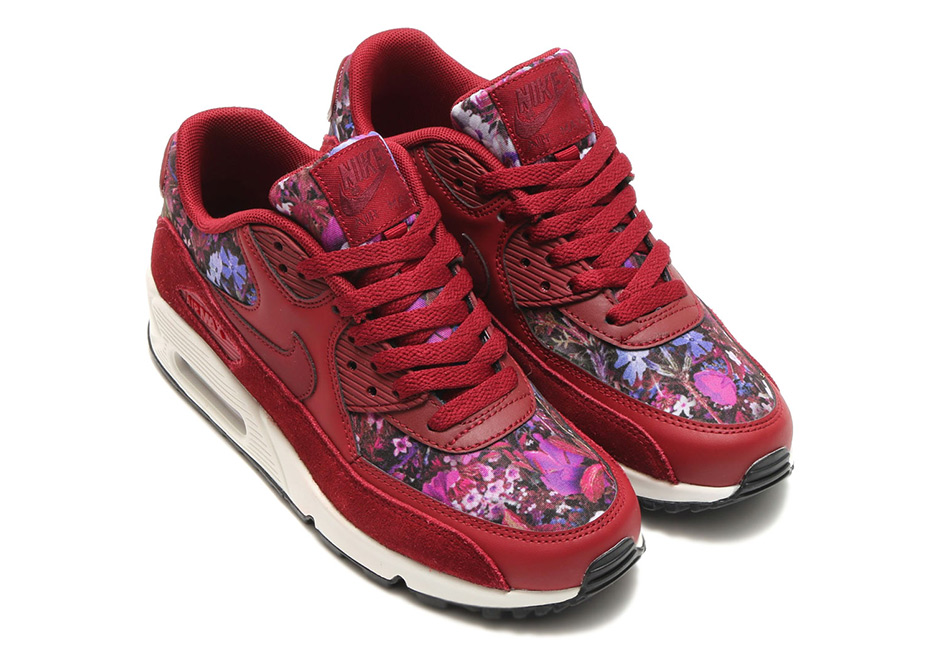 womens air max 90 flowers black red