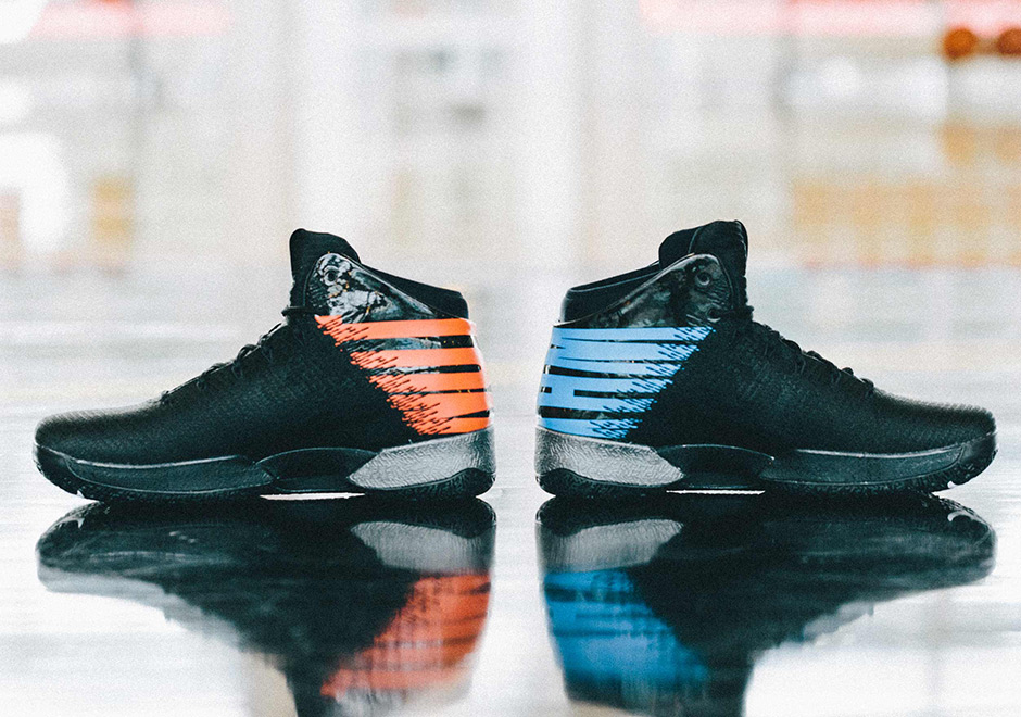 """79c52c39868664 his personal motto—text on the heels in OKC s bright orange and blue tones.  Get a detailed look at the """"Why Not """" PE here"""
