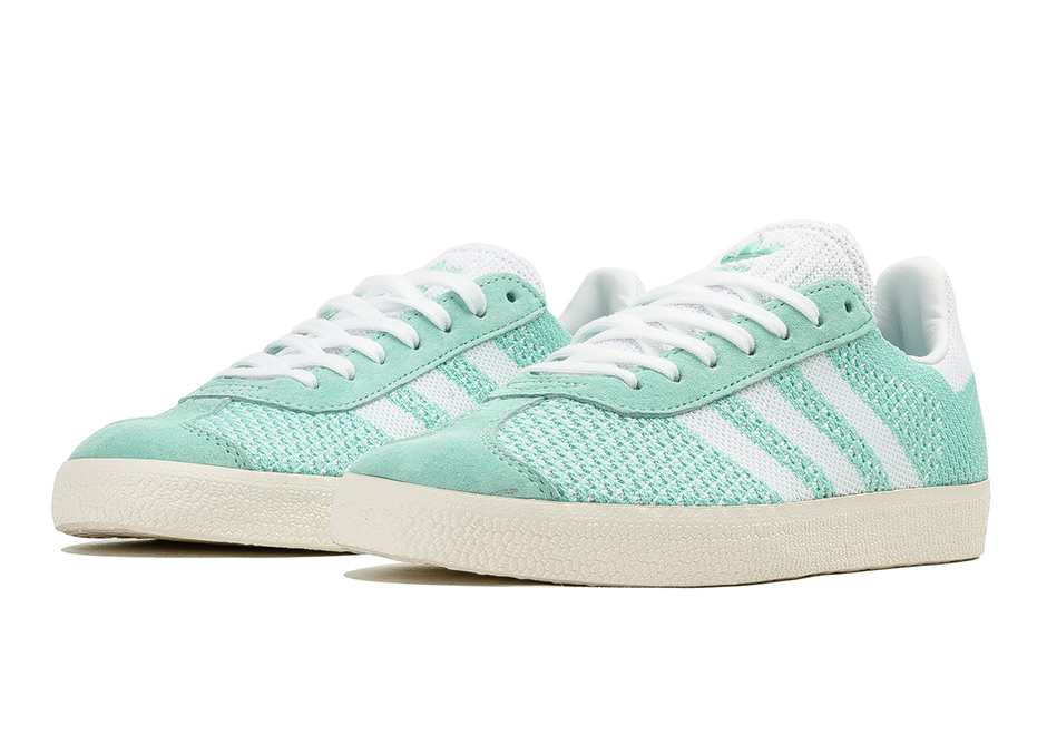 """sports shoes 2b634 71311 After debuting with the """"Mardi Gras"""" collab colorway by Sneaker Politics,  the adidas Gazelle with a new Primeknit construction is now finally  arriving as a ..."""