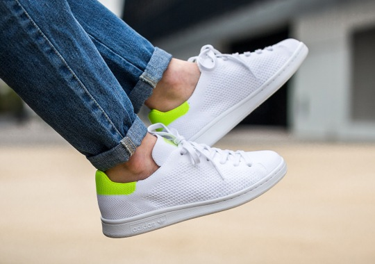 The adidas Stan Smith Primeknit Appears With Solar Yellow Accents