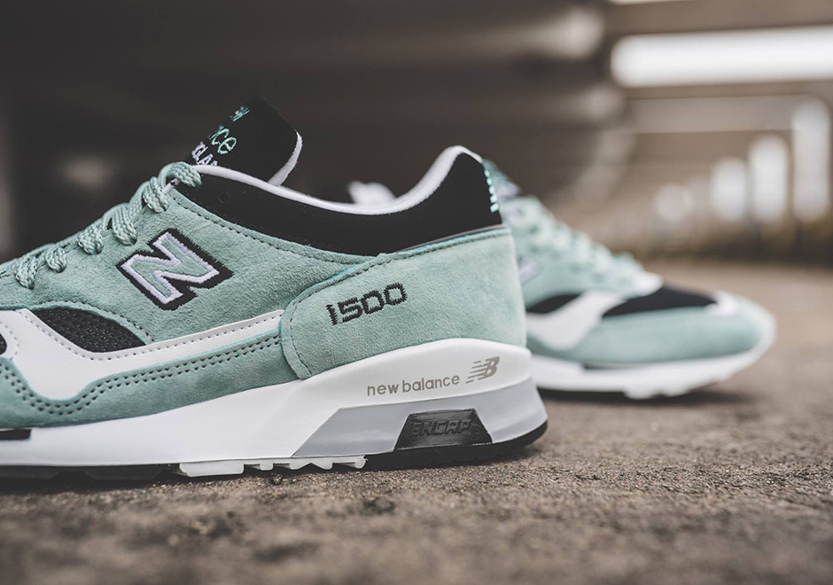 new balance classic 1500 mint & black trainers