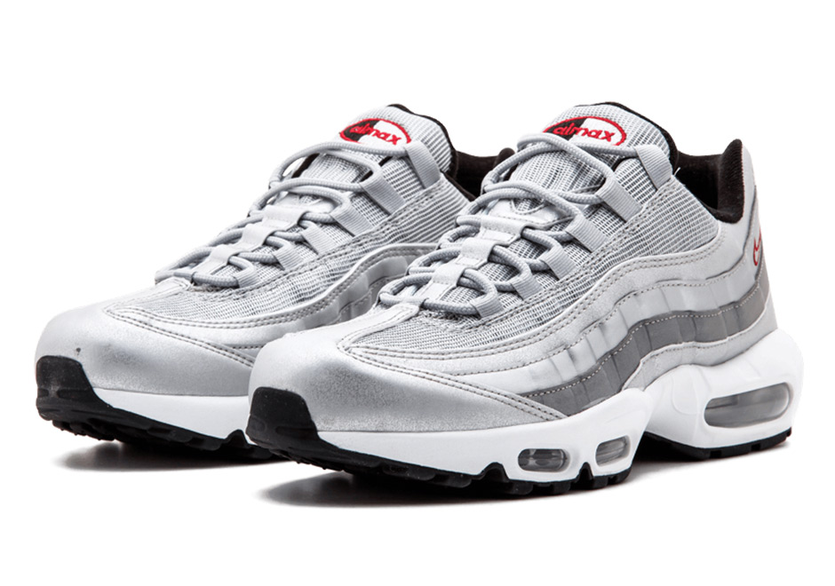 "06b1e26d93 Global Release Date: April 11th, 2017. Nike Air Max 95 ""Silver Bullet""  $160. Color: Metallic Silver/Varsity Red-Black-White Style Code: 918359-001"