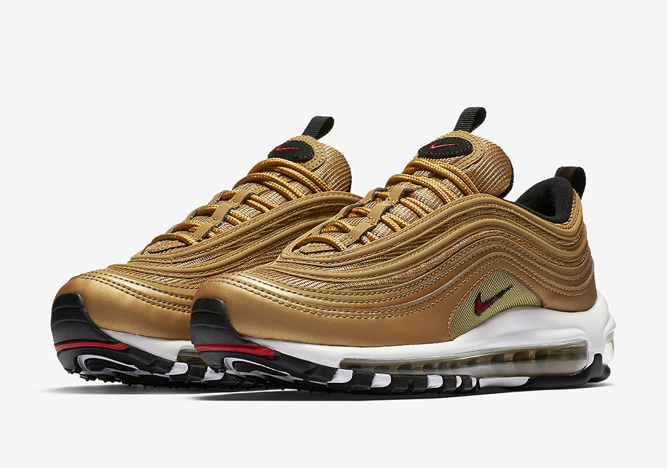 "Nike Air Max 97 GS ""Metallic Gold"" Release Date: May 18th, 2017 $160.  Color: Metallic Gold/Team Red-Black-White Style Code: 885691-700 (Women's)"