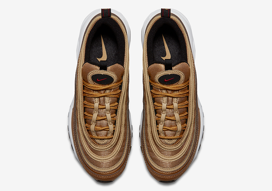 "online store 8c121 f431c Nike Air Max 97 GS ""Metallic Gold"" Release Date May 18th, 2017 160.  Color Metallic GoldTeam Red-Black-White Style Code 885691-700 (Womens)"
