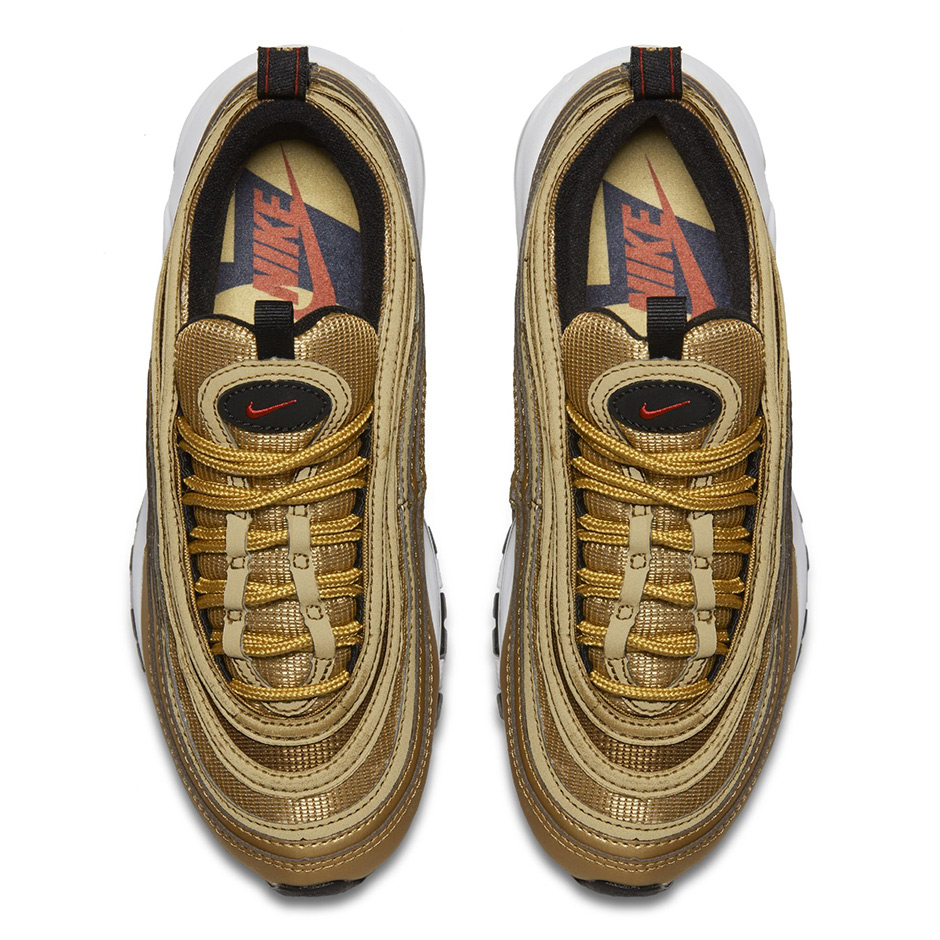 "0ba28db0eace51 ... scaled down to accommodate the kids and ladies. You can expect the Air  Max 97 ""Metallic Gold GS to drop the same day as the men s sizes on April  20th."