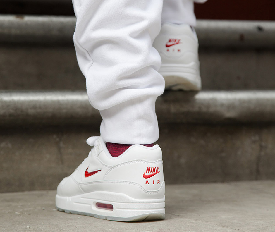 newest b6dce 656e8 Nike Air Max 1 Jewel White Red 2017 Retro  SneakerNews.com