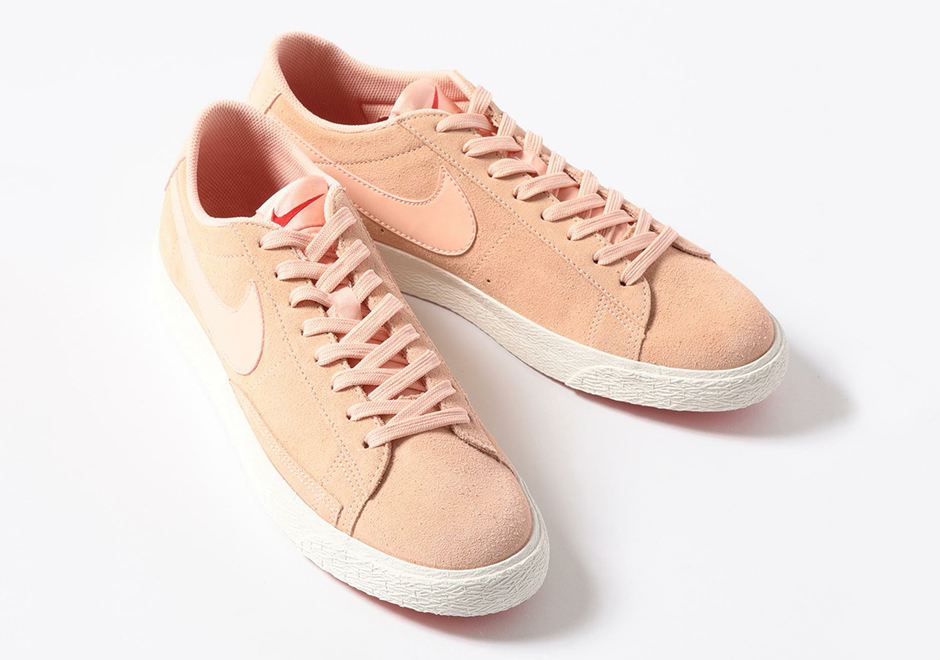 mens nike blazer low trainers in pink