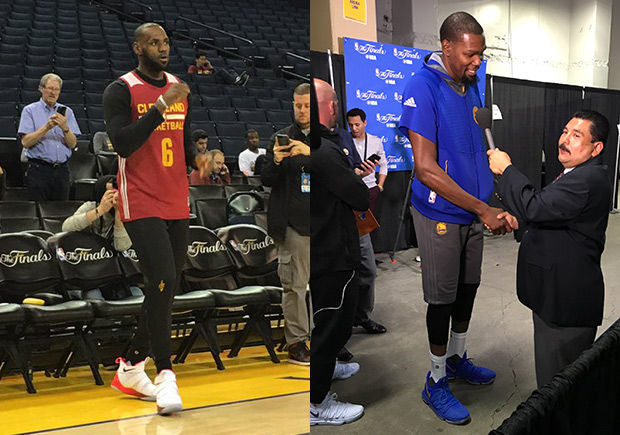 2d8ca36b26fc Kevin Durant And LeBron James Unveil New PEs During Practice ...