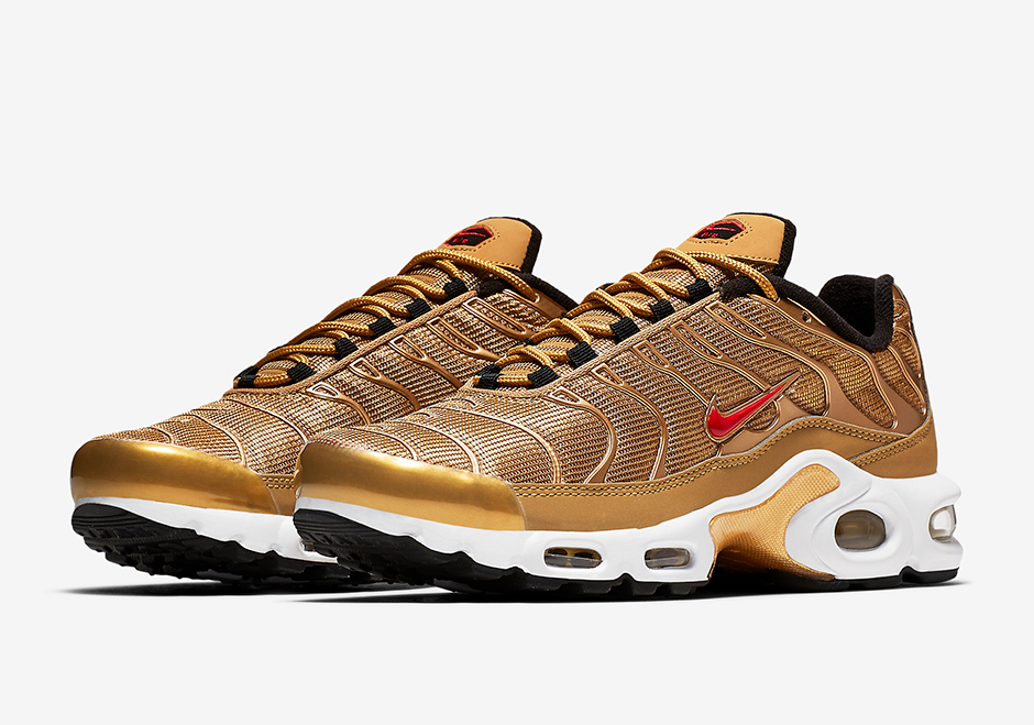"Nike Air Max Plus ""Metallic Gold"" Release Date: May 18th, 2017 $150. Color: Metallic Gold/Metallic Gold-University Red"