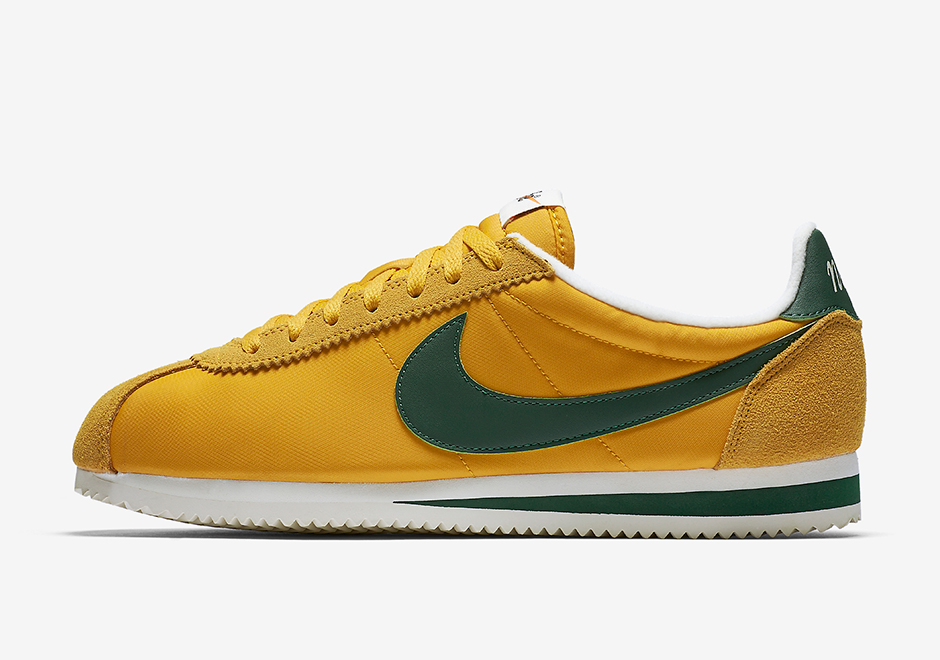 nike cortez yellow and green