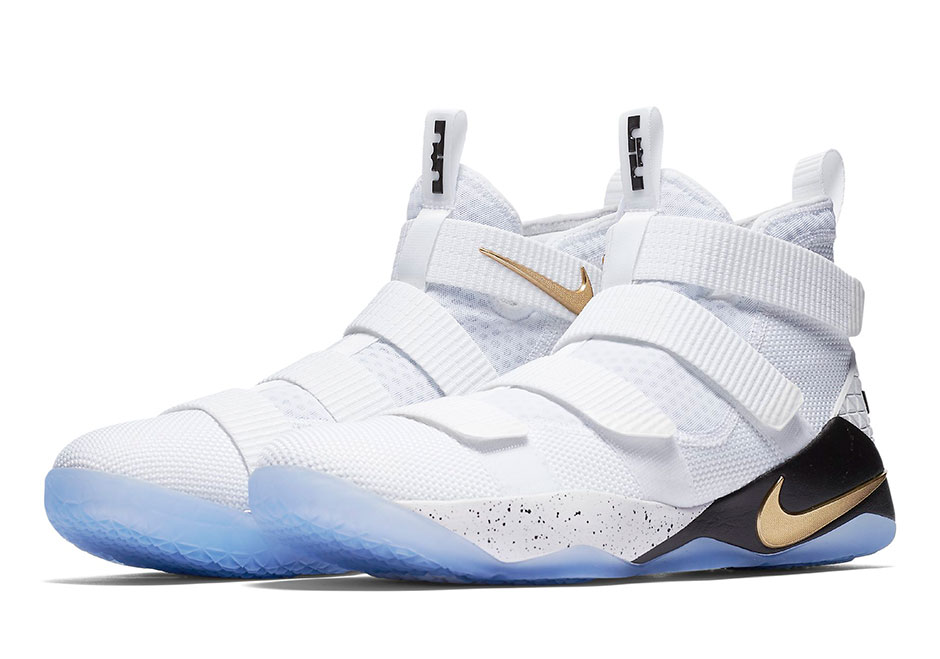 A white and gold colorway of the Nike LeBron Soldier 11 is in the books for  a June 3rd release. This is a classic Finals PE look 701d74b8104d