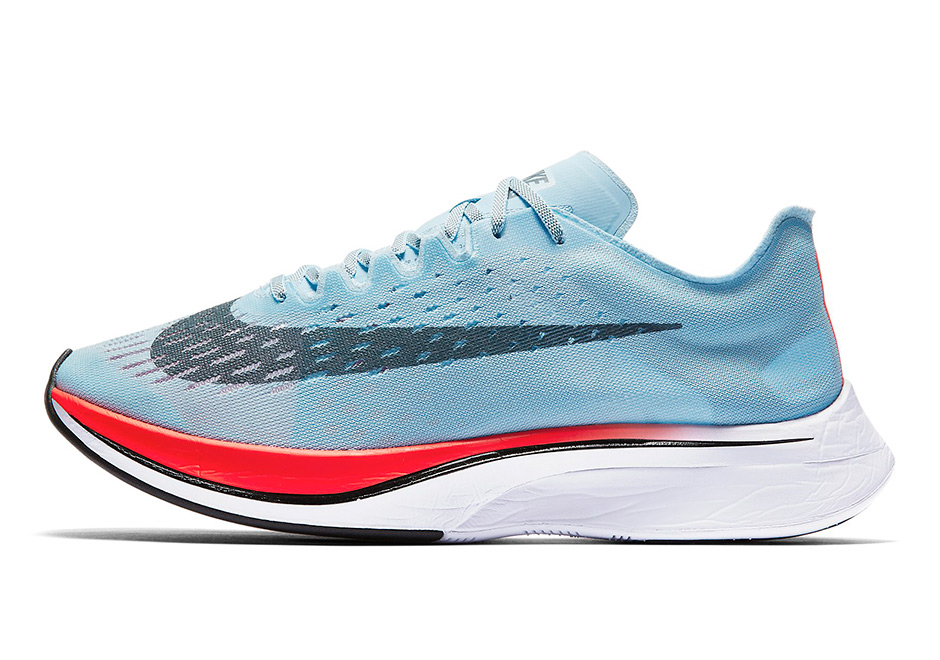 Nike Zoom VaporFly 4% Release Date: July 2017 $250. Color: Ice Blue/Bright  Crimson-University Red-Blue Fox