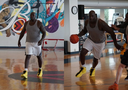 Shaq Debuts New Shoe While Playing Ball At Reebok Headquarters