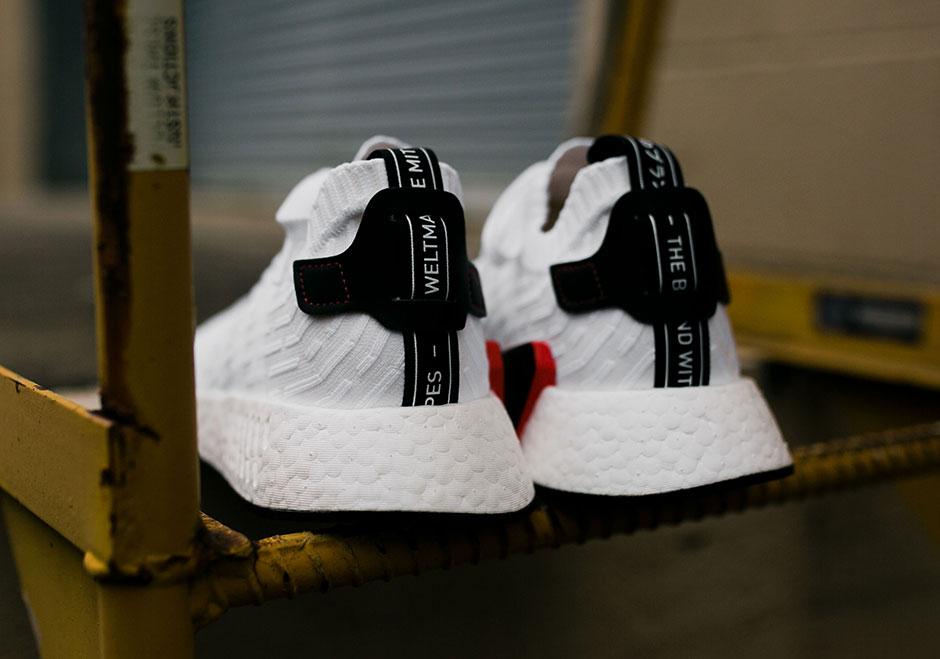 adidas NMD R2 Primeknit White Black BY3015  4428ea86c653