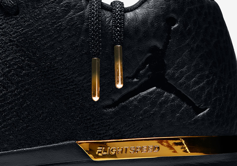 05447b048683 Black Tumbled Leather And Gold Detailing Hit The Air Jordan 31 Low