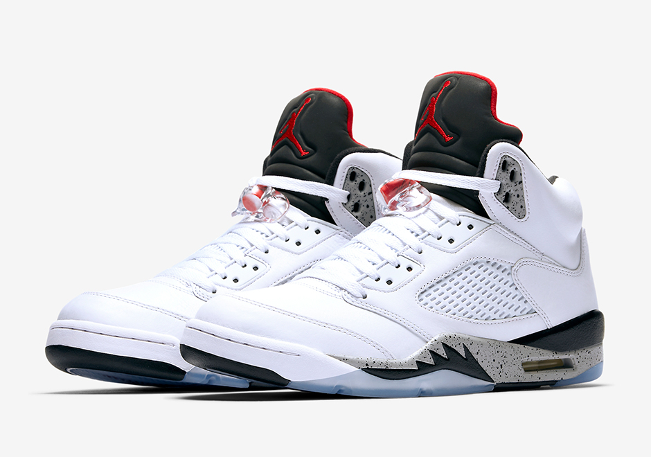 nike air jordan retro 5 - white\/cement