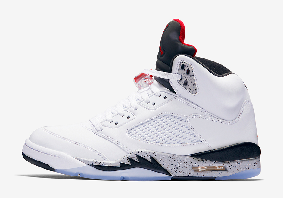 "Air Jordan 5 ""White/Cement"" Release Date: August 5th, 2017 $190. Color:  White/White/Fire Red-Tech Grey-Black"