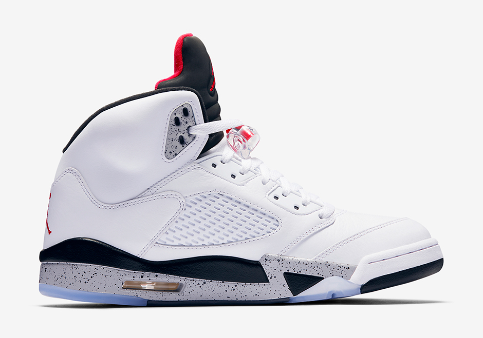 "reputable site 8e267 48ad1 Air Jordan 5 ""White Cement"" Release Date  August 5th, 2017  190. Color   White White Fire Red-Tech Grey-Black Style Code  136027-104"