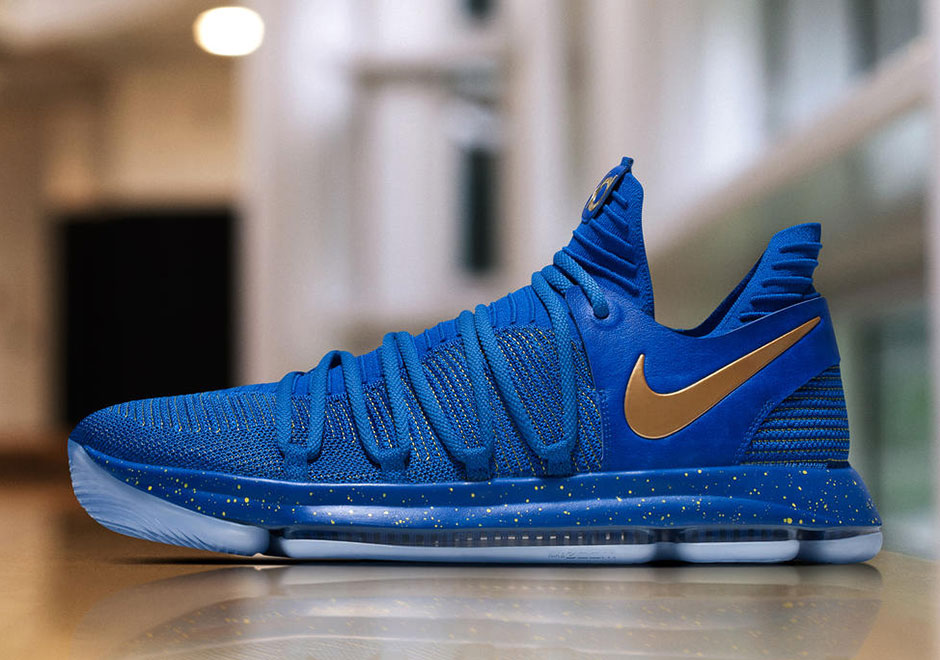 size 40 c3b5b eaaca Nike KD 10 NBA Finals PE Blue Gold | SneakerNews.com