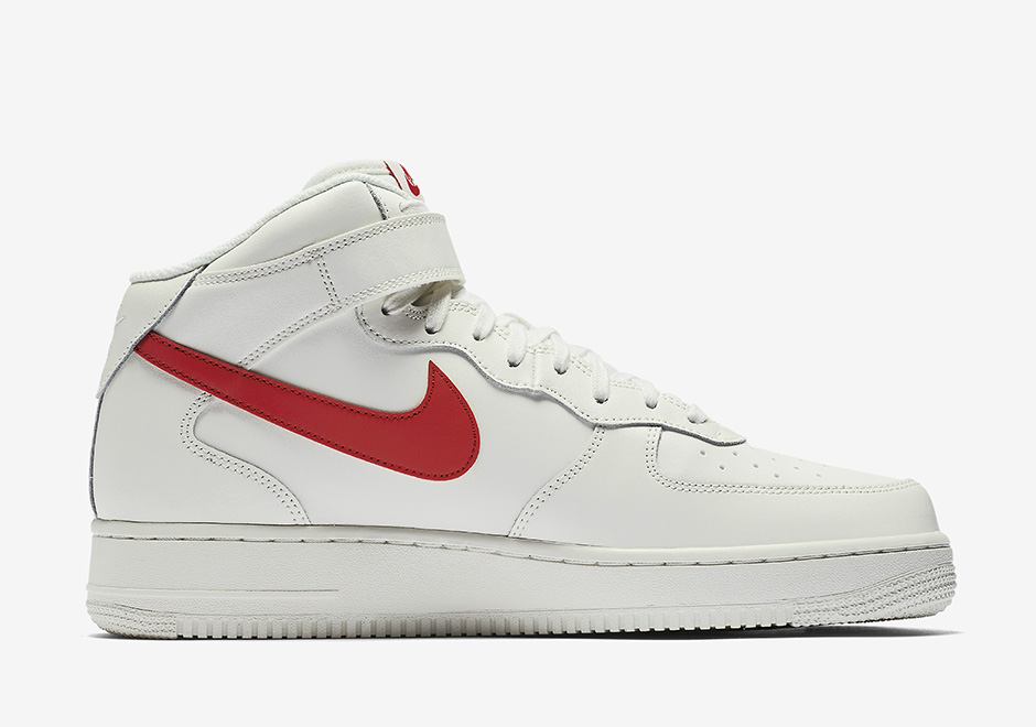 Nike Air Force 1 Mid Sail University Red 315123 126 Sneakernews Com