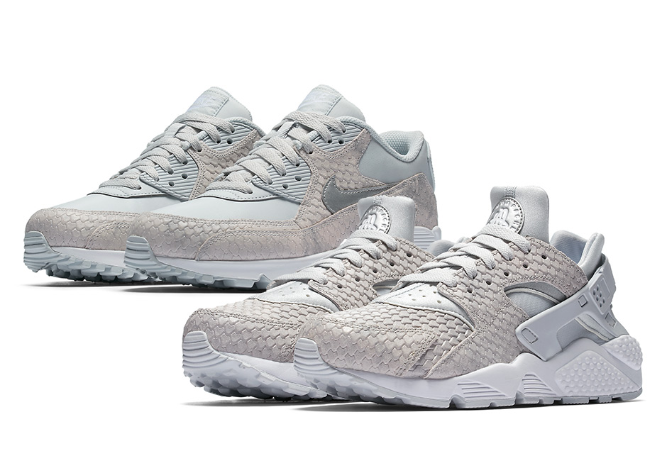A couple of classic Nike runners go reptilian this summer with these new  editions of the Air Max 90 and Air Huarache. Both iconic retro runners have  been ...