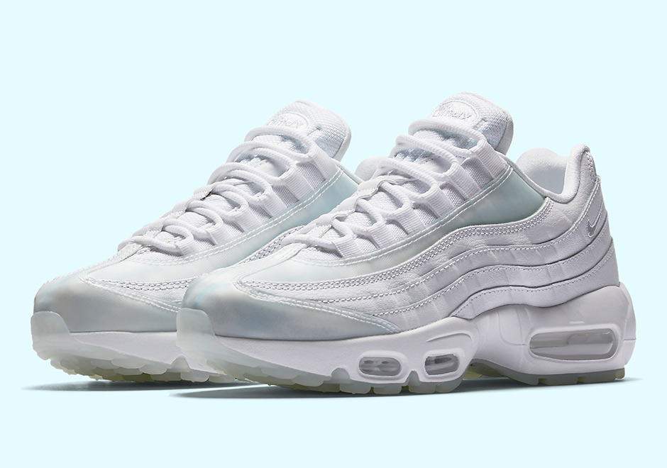 be16148959db6 The Nike Air Max 95 is shining once again with this latest women s colorway  featuring iridescent paneling. The classic model that introduced forefoot  ...