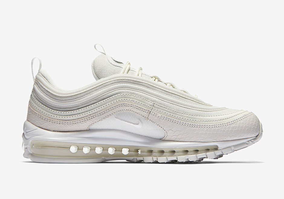 "Nike Air Max 97 ""White Snakeskin"" Release Date: June 29th, 2017 $160.  Color: White/Sail"