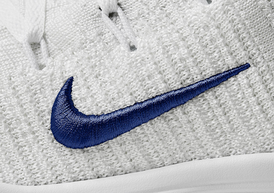 7296dbb0f826 ... featuring a simple white Flyknit upper with blue embroidered Swooshes.  Get a good look while we all wait for Nike to release complete details on  their ...