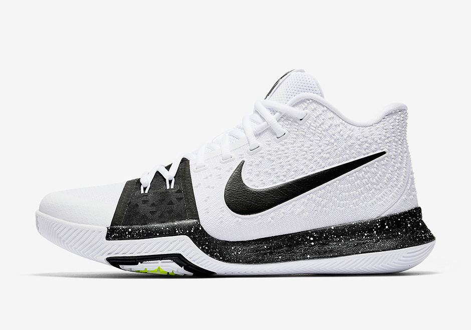 "Nike Kyrie 3 ""Cookies and Cream"" Release Date: July 21st, 2017 $120. Color:  White/Black-Volt"