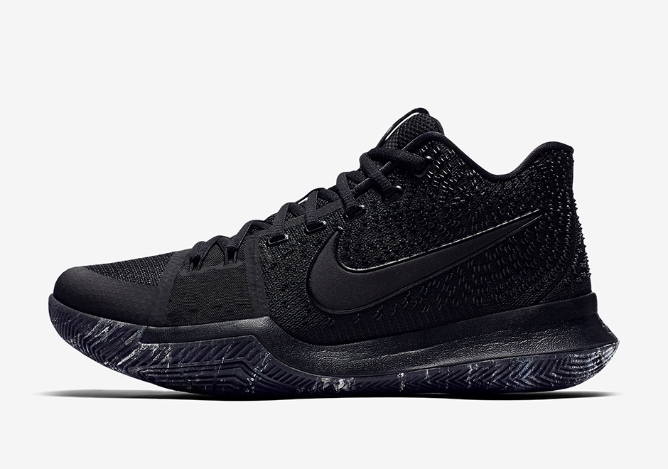 "22b455c27025 ... Kyrie 3 ""Triple Black"". NikeAvailable Now  Finish LineAvailable Now.  Follow us on Twitter for restock updates   kicksfinder    sneakernews"
