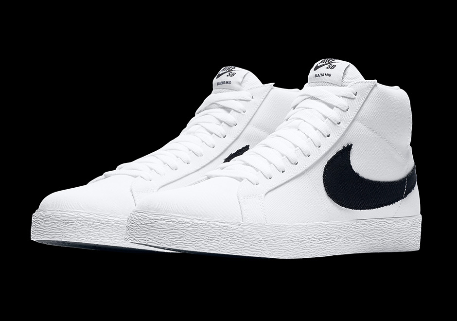 sports shoes 3fe96 624b0 Nike SB Blazer Mid Canvas White Black 902662-149 ...