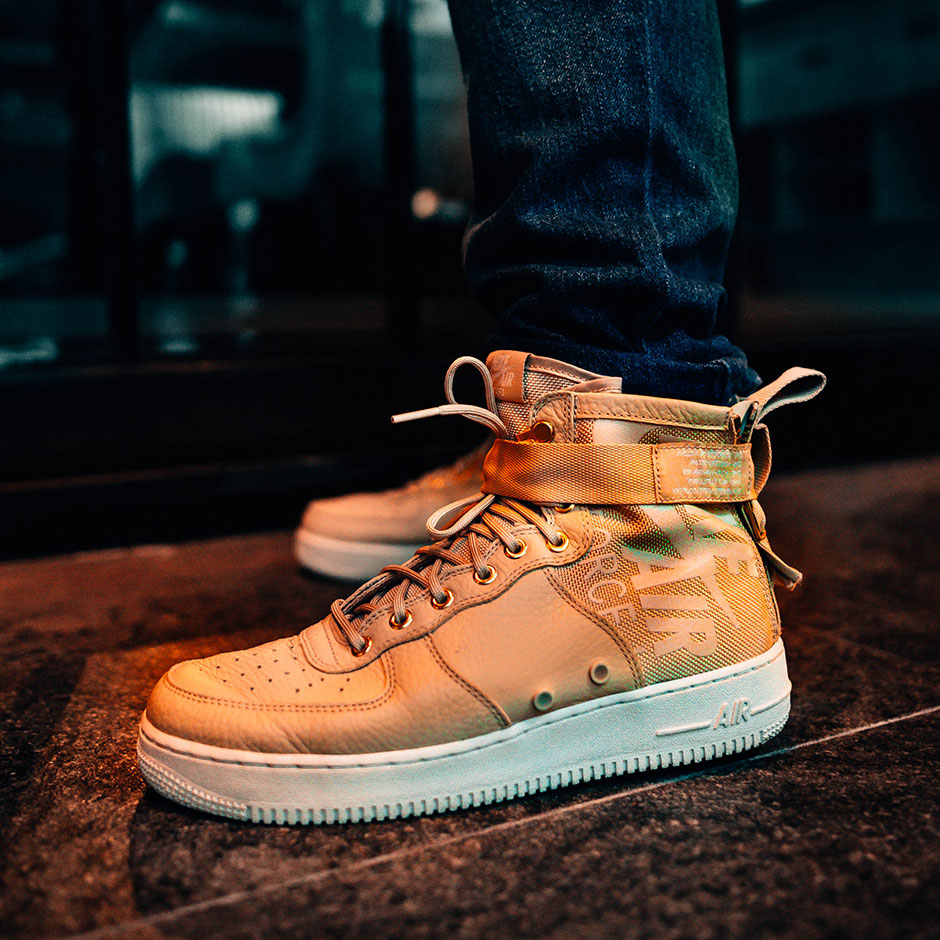 new concept d83b5 7cc8c Nike SF-AF1 Mid Mushroom 917753-200 On-Foot Preview   SneakerNews.com