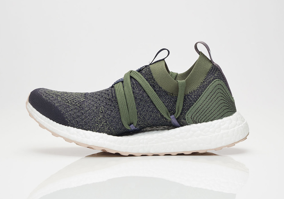 Stella McCartney x adidas Ultra Boost X AVAILABLE AT Sneakersnstuff $210. Color: Legend Blue/Base Green/Peach Rose