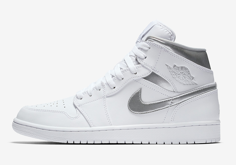 bf07262474c5b4 Air Jordan 1 Mid AVAILABLE ON Nike.com  110. Color  White White Metallic  Silver Style Code  554724-105