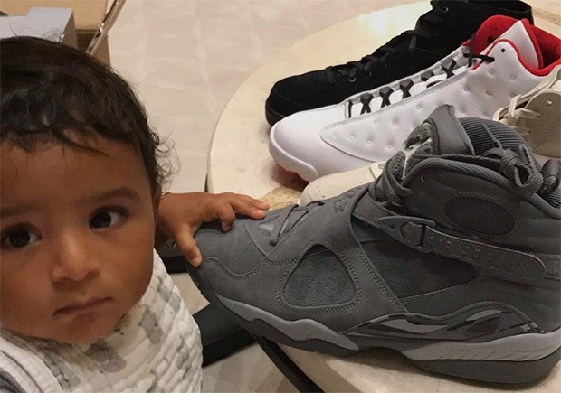 "DJ Khaled And Son Asahd Offer Early Look At Air Jordan 8 ""Cool Grey"""