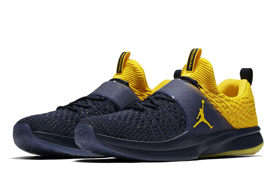 "Jordan Trainer 2 Flyknit ""Michigan"" Release Date: August 30th, 2017 $140.  Color: College Navy/Amarillo-Amarillo Style Code: 921210-407"