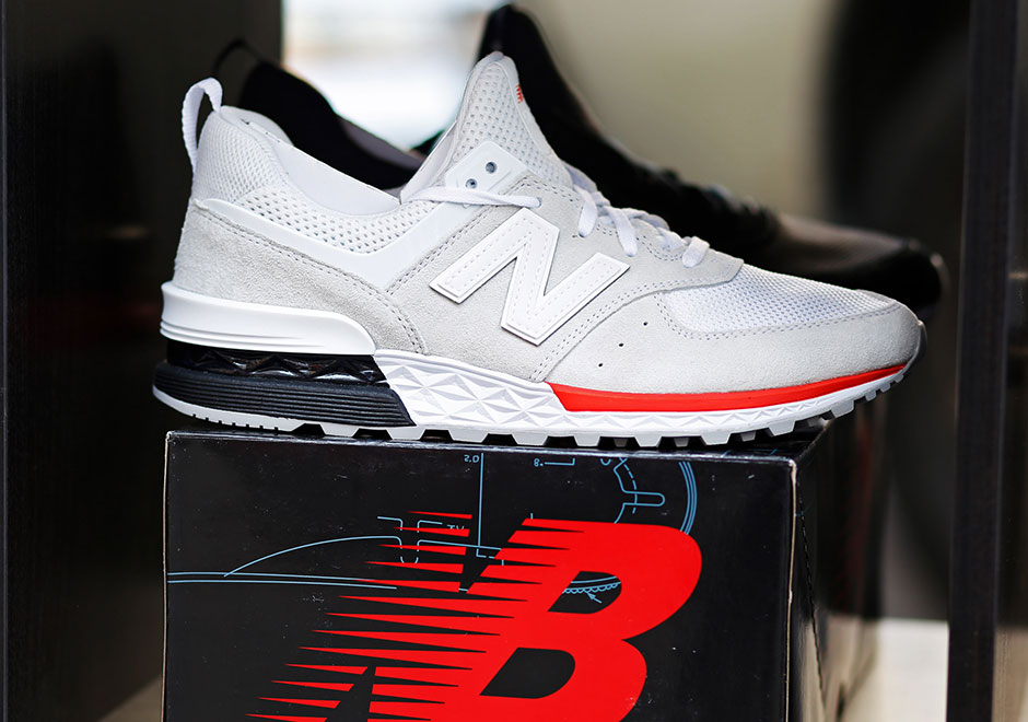 new balance 574 sport white and red