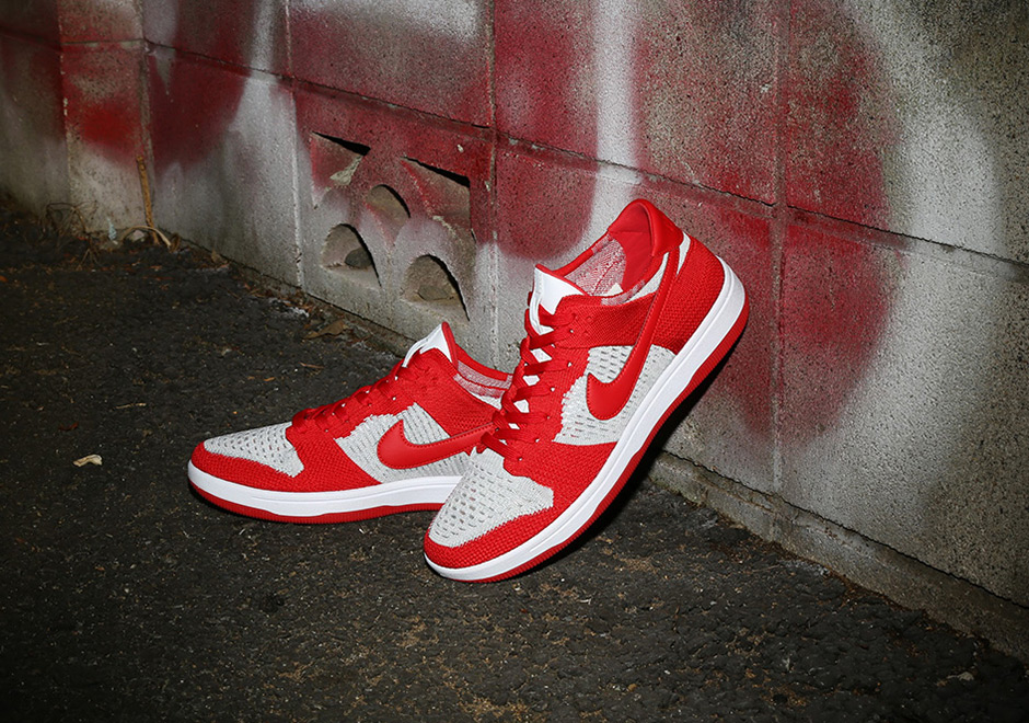 Nike Dunk Low Flyknit AVAILABLE NOW AT Nike  120. Color  University Red  White-Wolf Grey Style Code  917746-600 20b70cf94