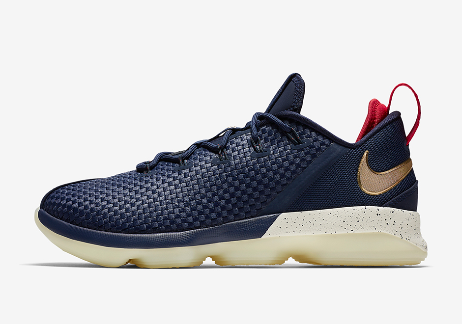 """buy online 582f9 c2b04 Nike LeBron 14 Low """"USA"""" AVAILABLE AT Nike  150. Color  Midnight  Navy University Red-Metallic Gold"""