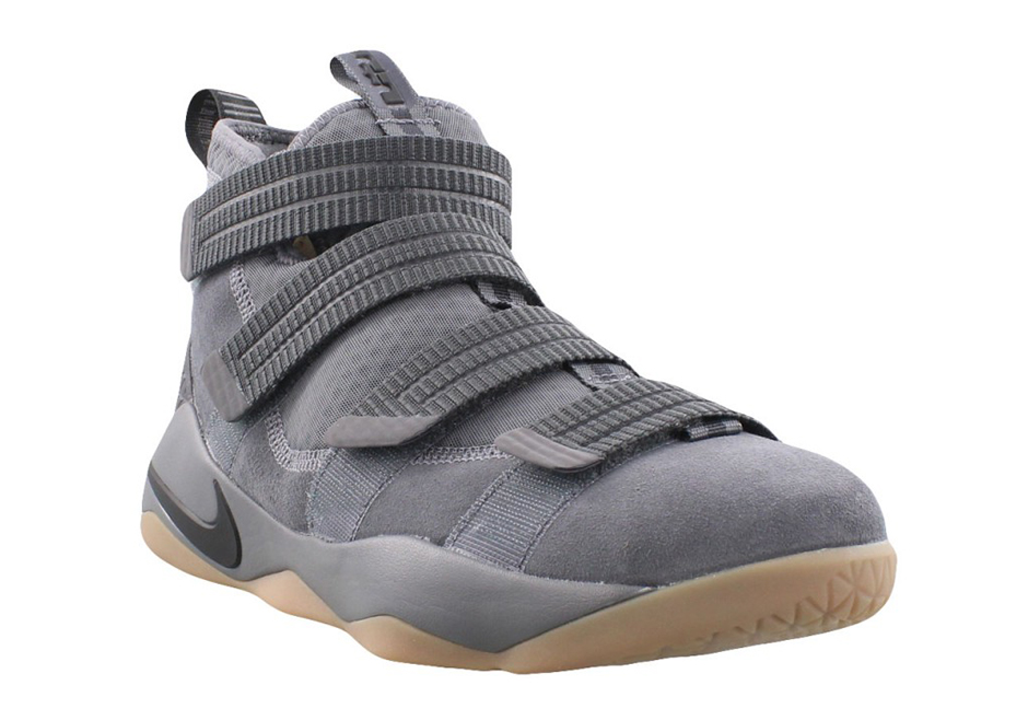 "1e5287203f6d Nike LeBron Soldier 11 ""Dark Grey"" AVAILABLE AT Nike  140. Color  Dark Grey Gum  Light Brown-Black"