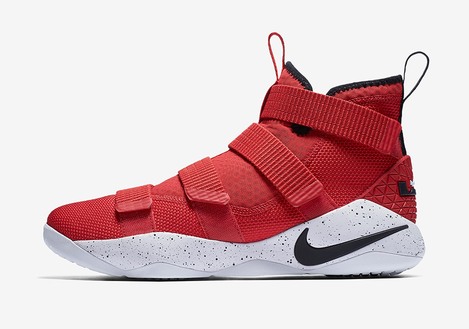 """54f92e99bbe7 Nike LeBron Soldier 11 """"University Red"""" AVAILABLE AT Nike  130. University  Red Black-White-Total Crimson"""
